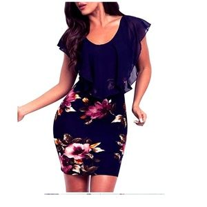 NEW Curvy Navy Blue Floral Dress Small